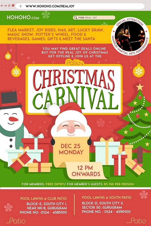 Christmas Carnival Poster.Patio Clubs A Unitech Brand Events